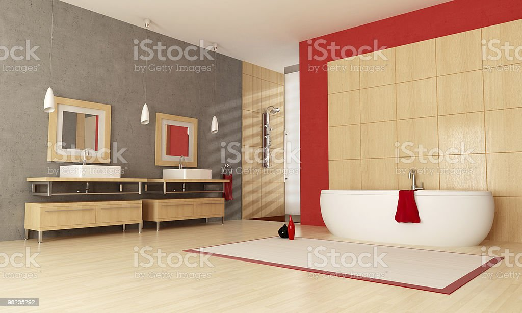 Contemporary bathroom with red accents royalty-free stock photo