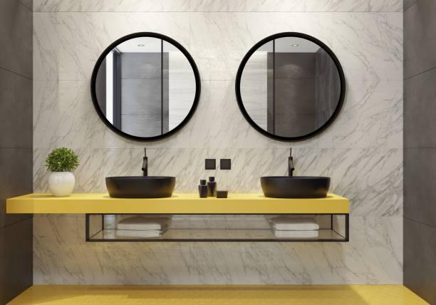 Moderne Badezimmer mit gelben Waben Fliesen – Foto