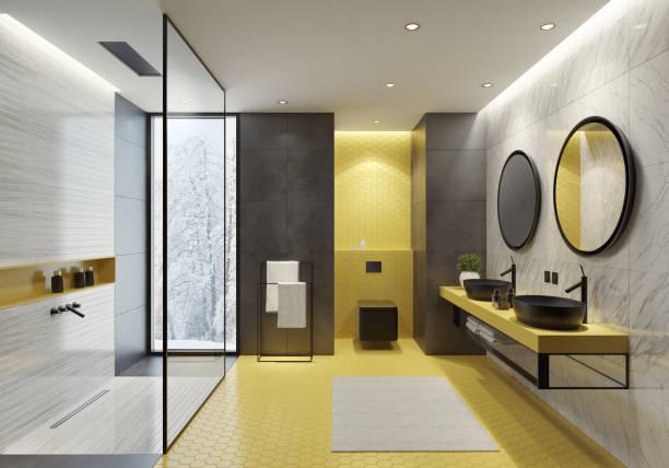 banheiro contemporâneo com azulejos amarelos do favo de mel - banheiro doméstico - fotografias e filmes do acervo