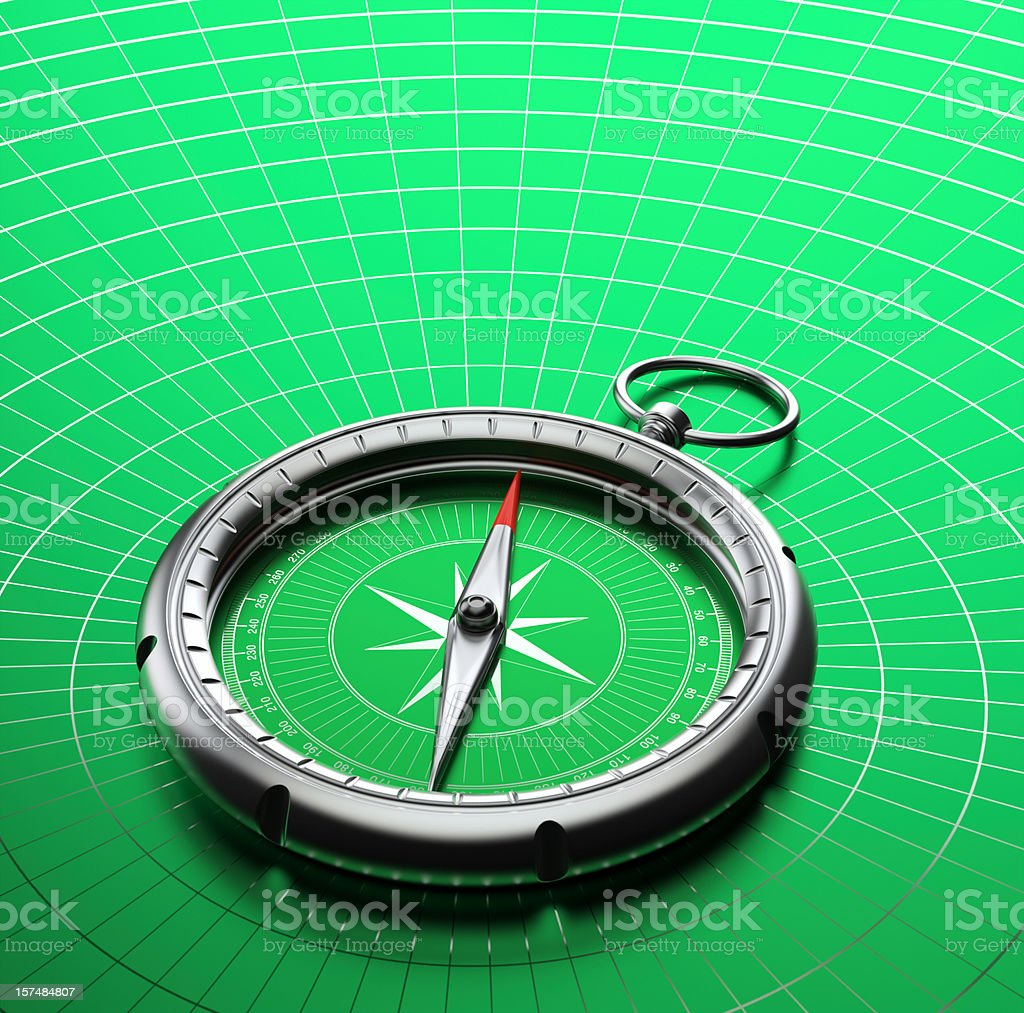 Contemporary blank compass on a green map