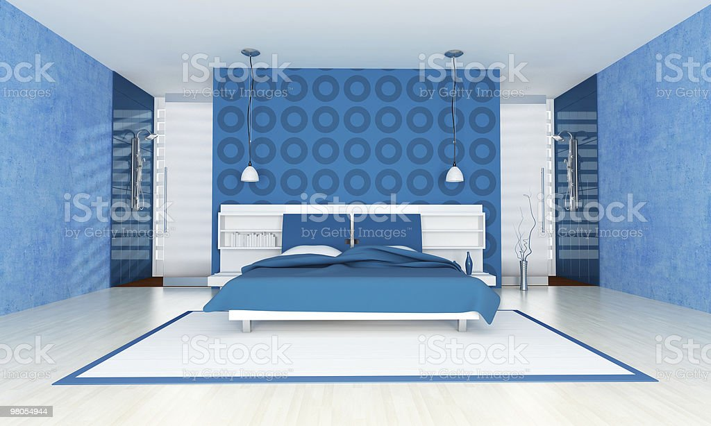Contemporary Blue Bedroom Stock Photo - Download Image Now