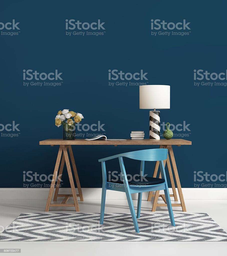 Contemporary blue home office stock photo