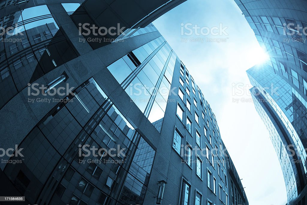 Contemporary building architecture with bridge royalty-free stock photo