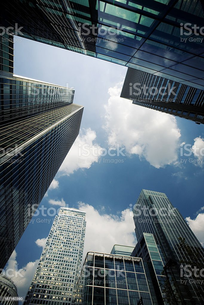 Contemporary business architecture: London skyscrapers at Docklands royalty-free stock photo