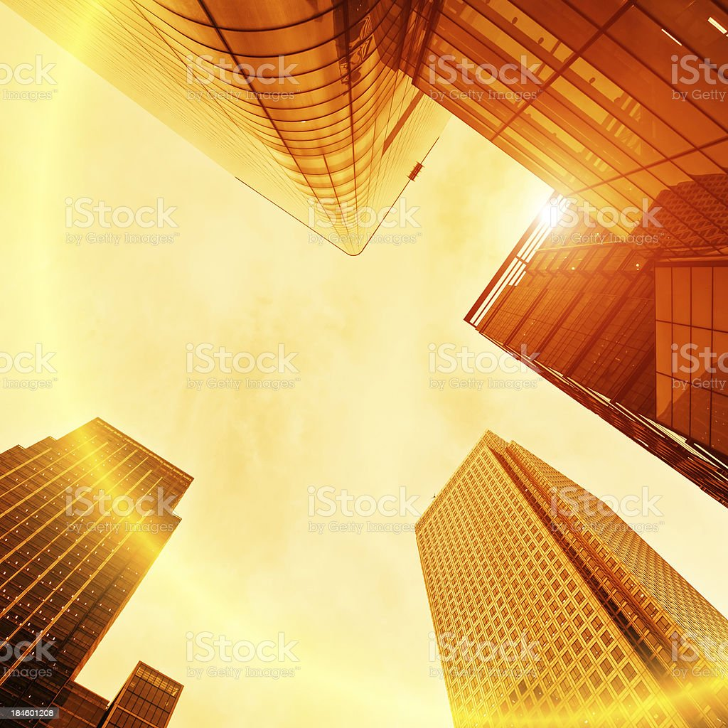 Contemporary Business District Skyscraper and Sun royalty-free stock photo