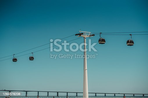 A modern touristic ropeway with four cars and a thick bearing support tube in front, a blue clear sky behind, a transport bridge in the defocused background below, Oriente district, Lisbon, Portugal