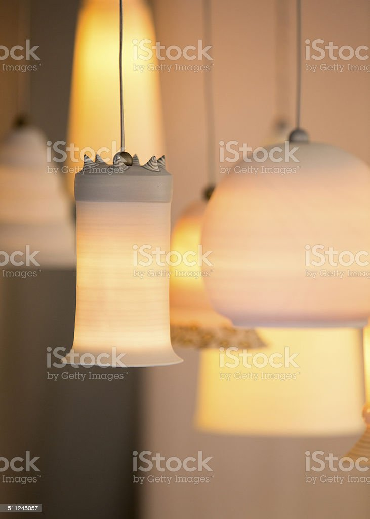 Contemporary chandeliers stock photo