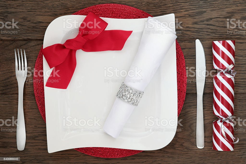 Contemporary Christmas Table Setting stock photo