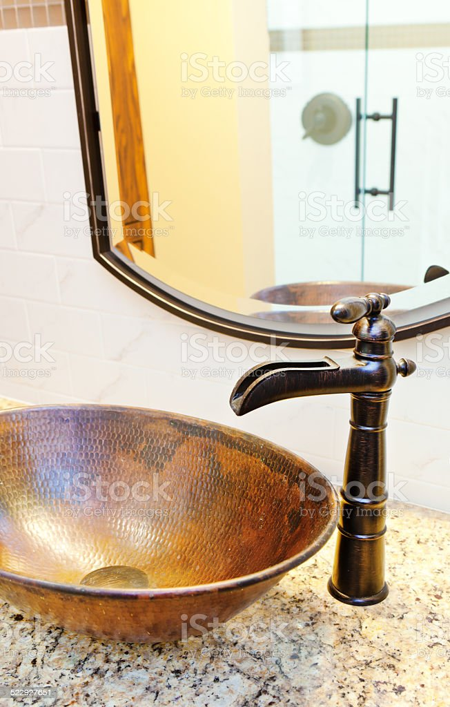 Contemporary Classic Bathroom Vanity and Sink with Granite Counter stock photo