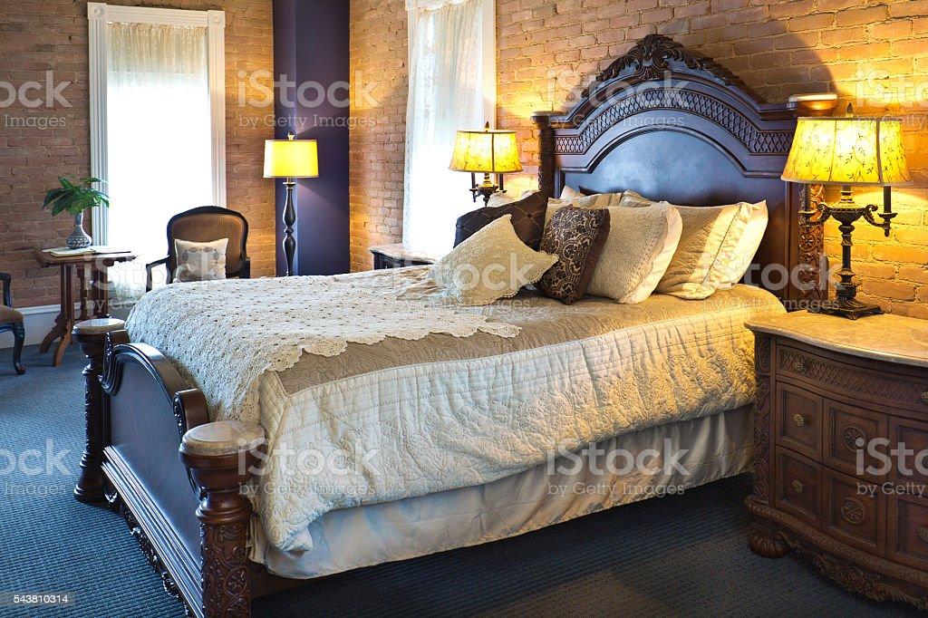 Contemporary Classic Bedroom Restoration Remodeling Interior Design stock photo