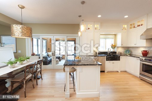istock Contemporary Classic Open Concept Design of Kitchen, Dining Room 511024136