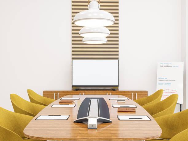 moderne office besprechungstisch mit leeren fernsehapparat, mock-up - tageslichtbeamer stock-fotos und bilder