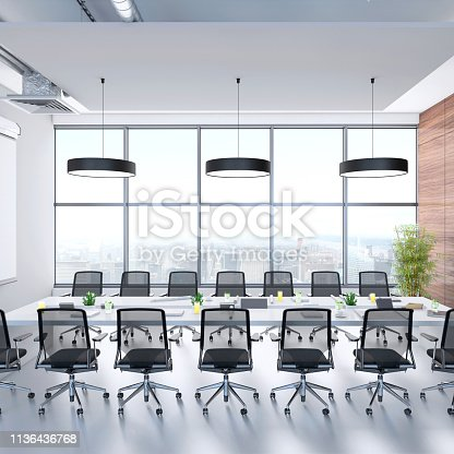 Contemporary conference room interior with large windows, big table with office chairs. Render.