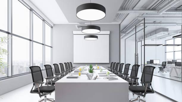 zeitgemäßes interieur im konferenzraum mit großer, leerer leinwand - tageslichtbeamer stock-fotos und bilder