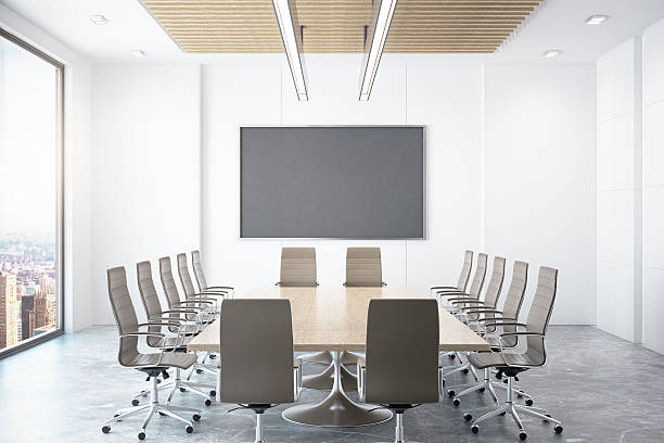 Contemporary conference room with city view stock photo
