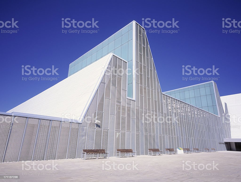 Contemporary Congress Center against blue sky in Zaragoza, Spain. stock photo