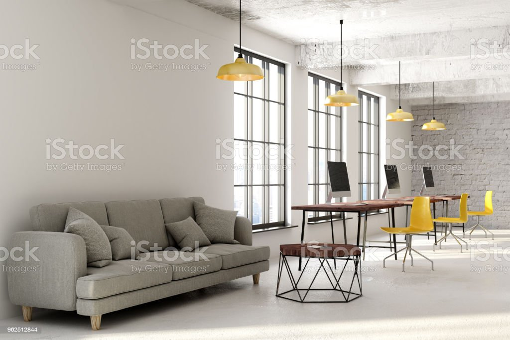 Contemporary coworking office with copyspace - Royalty-free Apartment Stock Photo