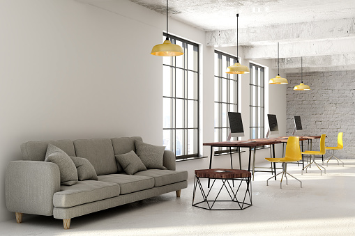 Contemporary Coworking Office With Copyspace Stock Photo - Download Image Now
