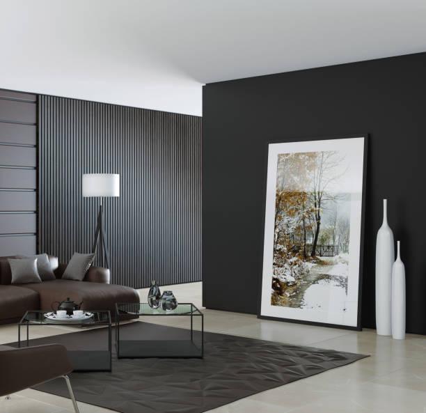 Zeitgenössische dunklen minimalistischen Wohnzimmer Interieur mit Ledersofa braun – Foto