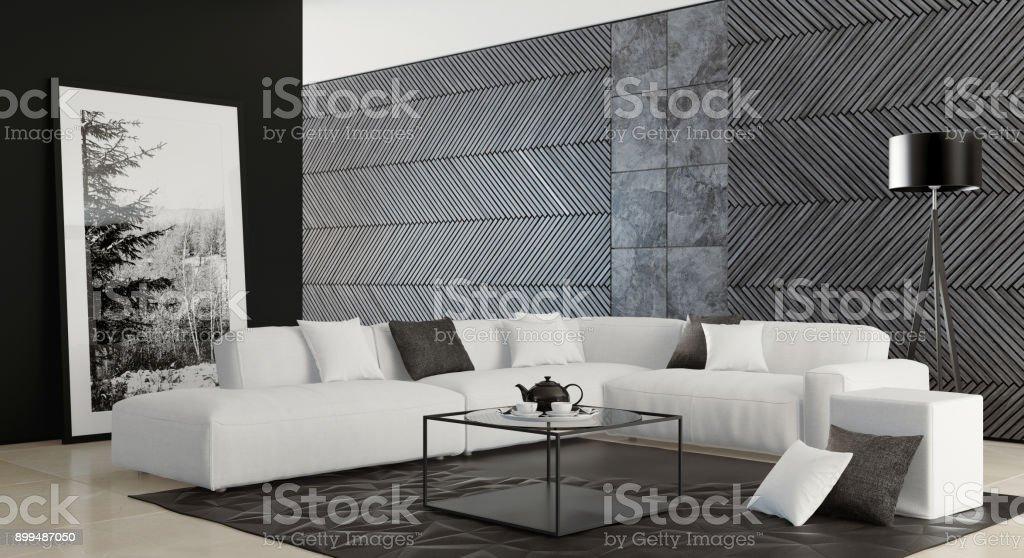 Zeitgenössische dunklen minimalistischen Wohnzimmer Interieur mit weißen sofa – Foto