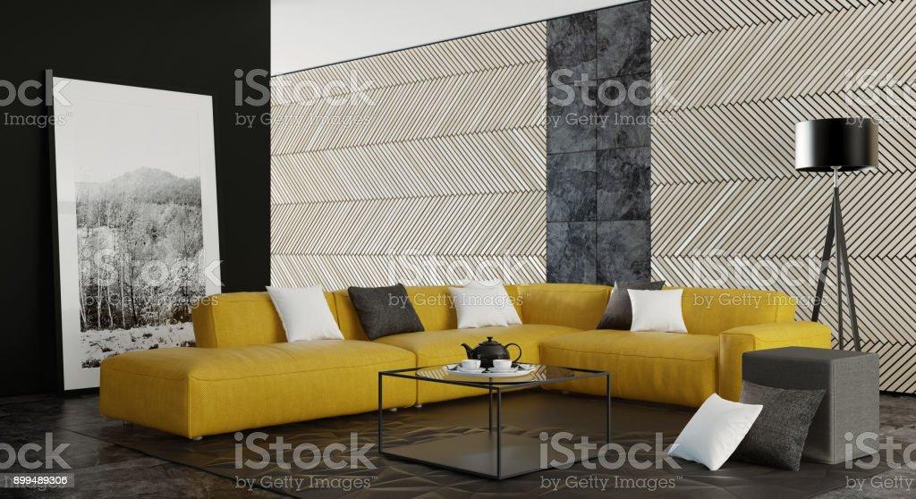 Zeitgenössische dunklen minimalistischen Wohnzimmer Interieur mit gelben sofa – Foto