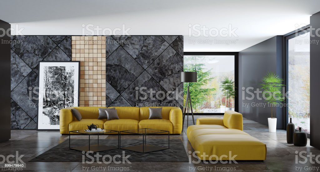 Contemporary Dark Minimalist Living Room Interior With Yellow Sofas.  Royalty Free Stock Photo