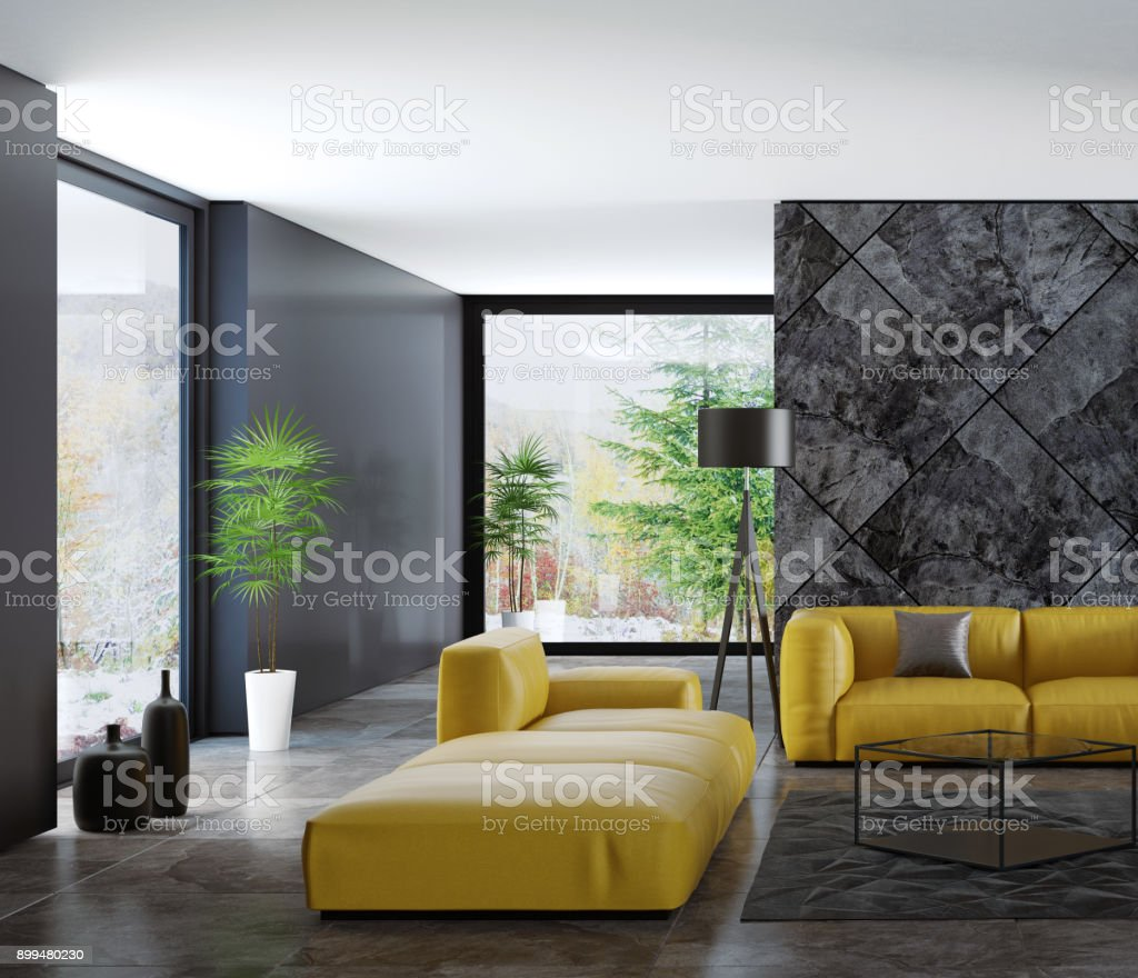 Contemporary Dark Minimalist Living Room Interior With Yellow Sofas Stock Photo Download Image Now Istock