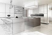 Contemporary Designed Kitchen (development) - 3d illustration