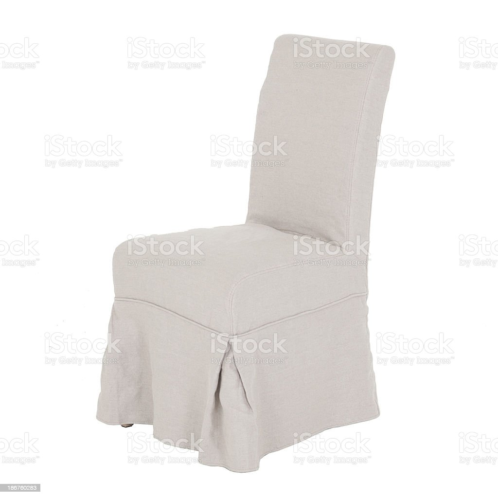 Contemporary Dining Chair In Wood And Fabric Isolated stock photo