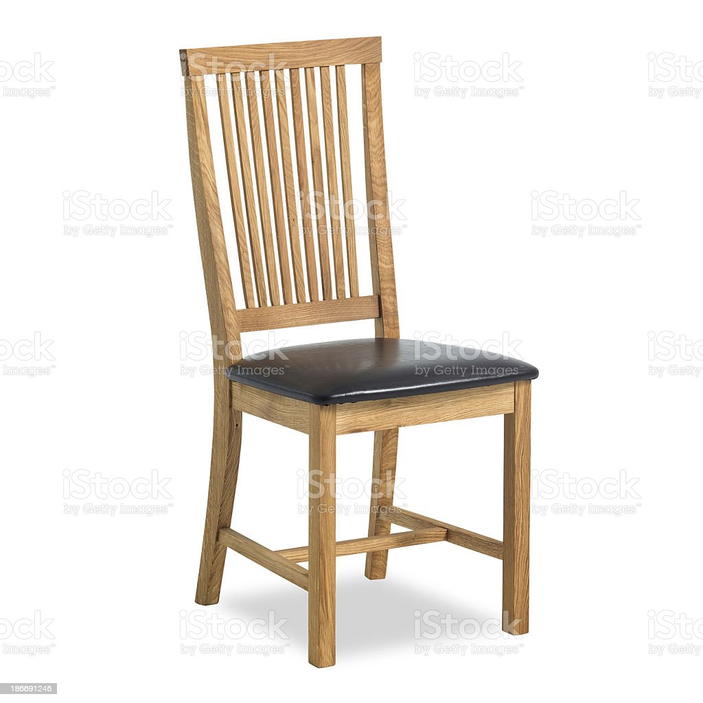Contemporary Dining Chair In Wood and Leather stock photo