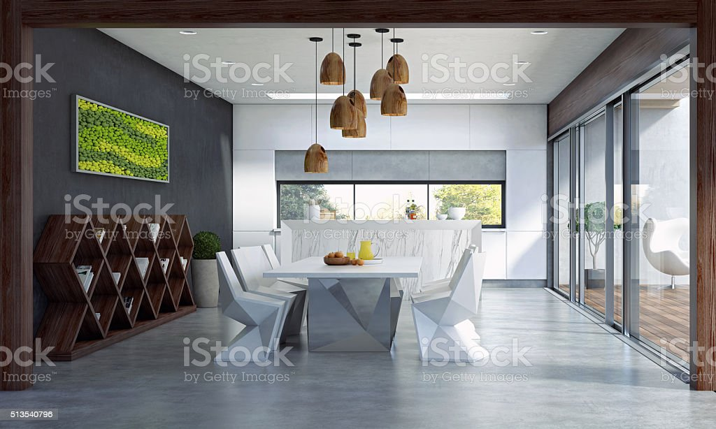 Contemporary Dining Space stock photo
