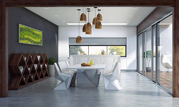 espace de restauration contemporain - architecture intérieure beton photos et images de collection
