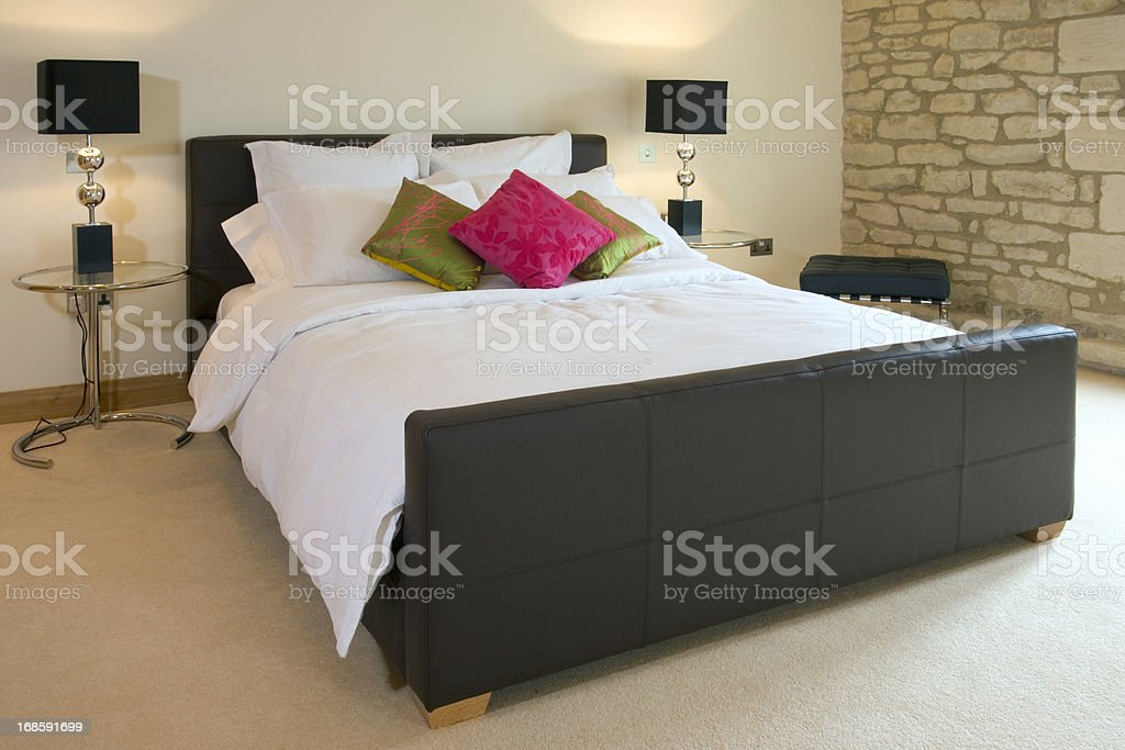 Contemporary double bed stock photo