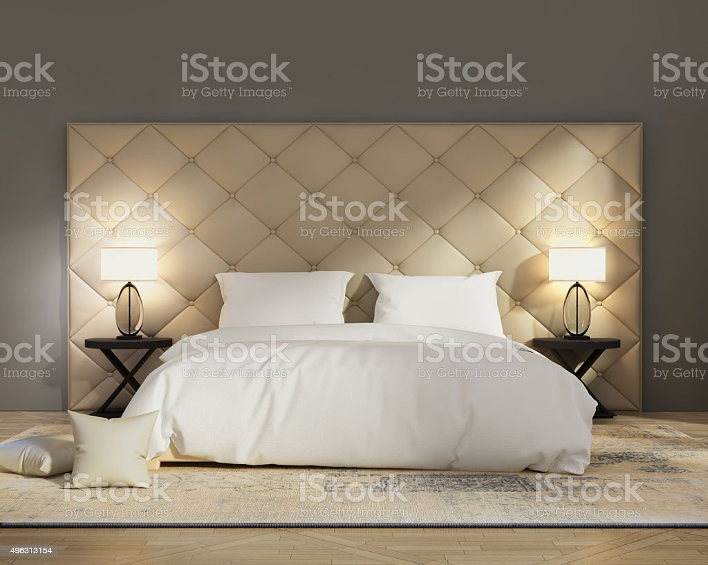 Contemporary elegant capitone luxury bedroom