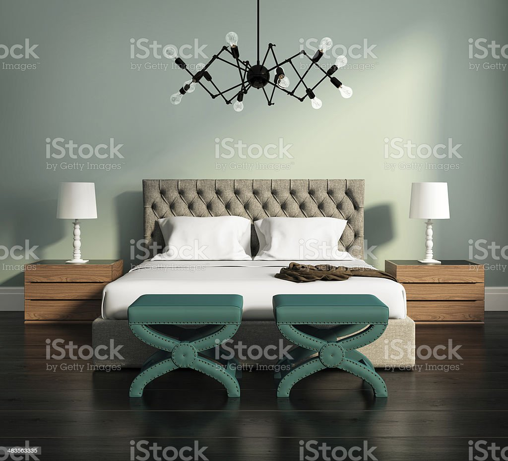 Contemporary elegant green luxury bedroom stock photo