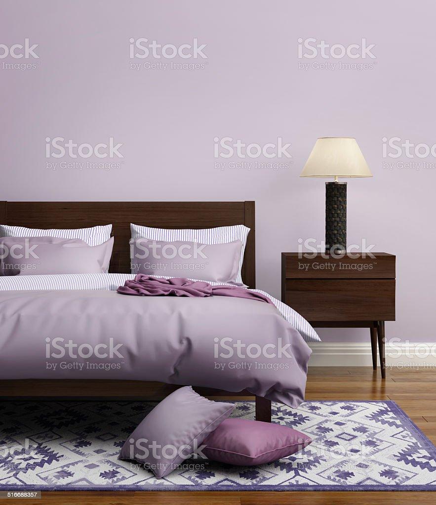 Elegant Bedroom Pics: Contemporary Elegant Light Purple Luxury Bedroom Stock