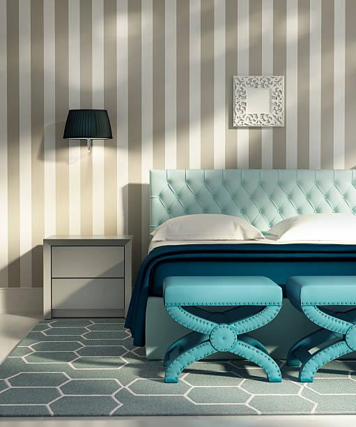 moderne eleganten luxus schlafzimmer mit blauen stühlen - marineblau schlafzimmer stock-fotos und bilder