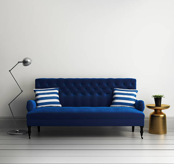 moderne elegante luxus blauer samt sofa - stuhlpolster stock-fotos und bilder