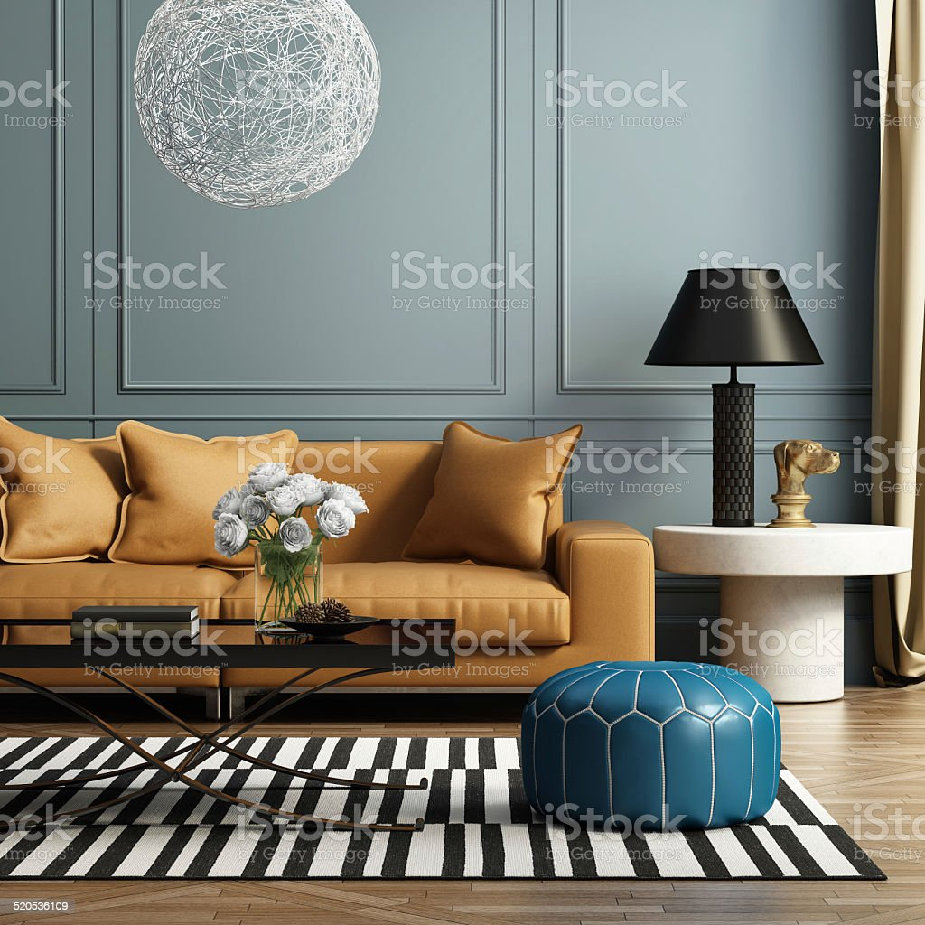 Contemporary elegant luxury living room 3d rendering of a contemporary luxury living room with leather sofa Architecture Stock Photo