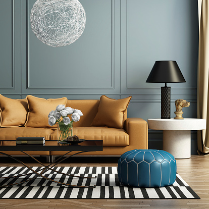 Contemporary Elegant Luxury Living Room Stock Photo - Download Image Now
