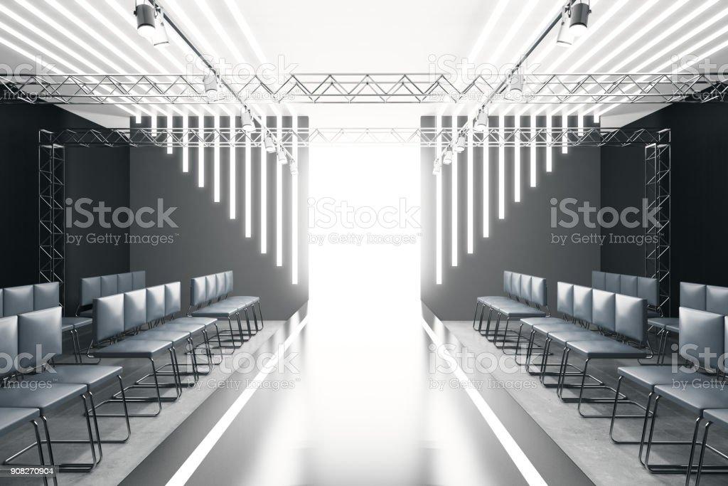 Contemporary empty fashion runway stock photo