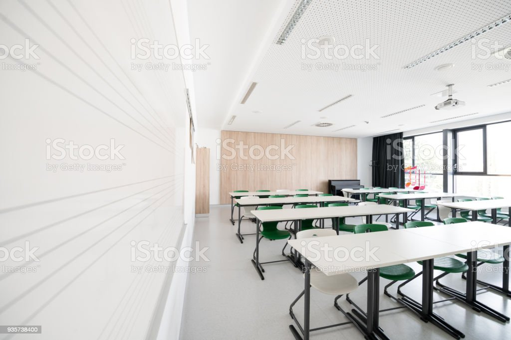 Contemporary Empty Music Classroom, Europe stock photo