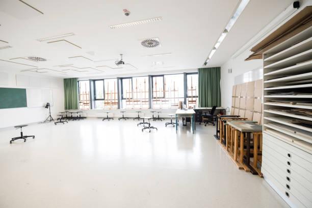 現代の空の学校芸術教室、ヨーロッパ - 美術の授業 ストックフォトと画像