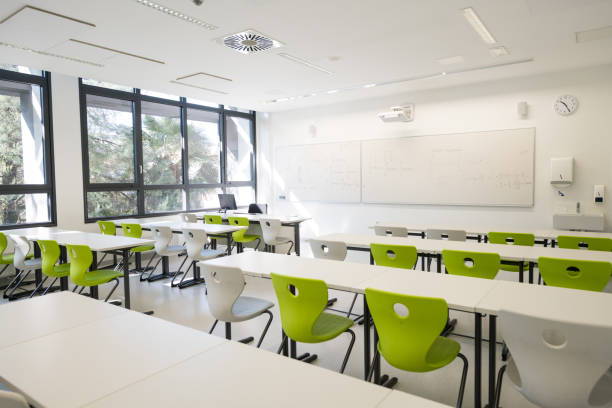 Contemporary Empty School Mathematics Classroom, Europe Contemporary empty school matematics classroom in Primorska region in Slovenia, Europe. Nikon D850. lecture hall stock pictures, royalty-free photos & images