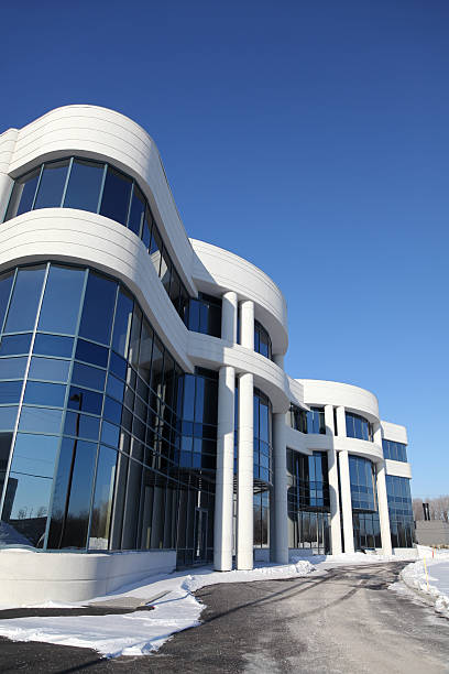 Contemporary Entreprise Building in Winter  entreprise stock pictures, royalty-free photos & images