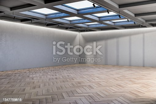 istock Contemporary exhibition hall interior with mock up place on walls and wooden flooring. 3D Rendering. 1347759815