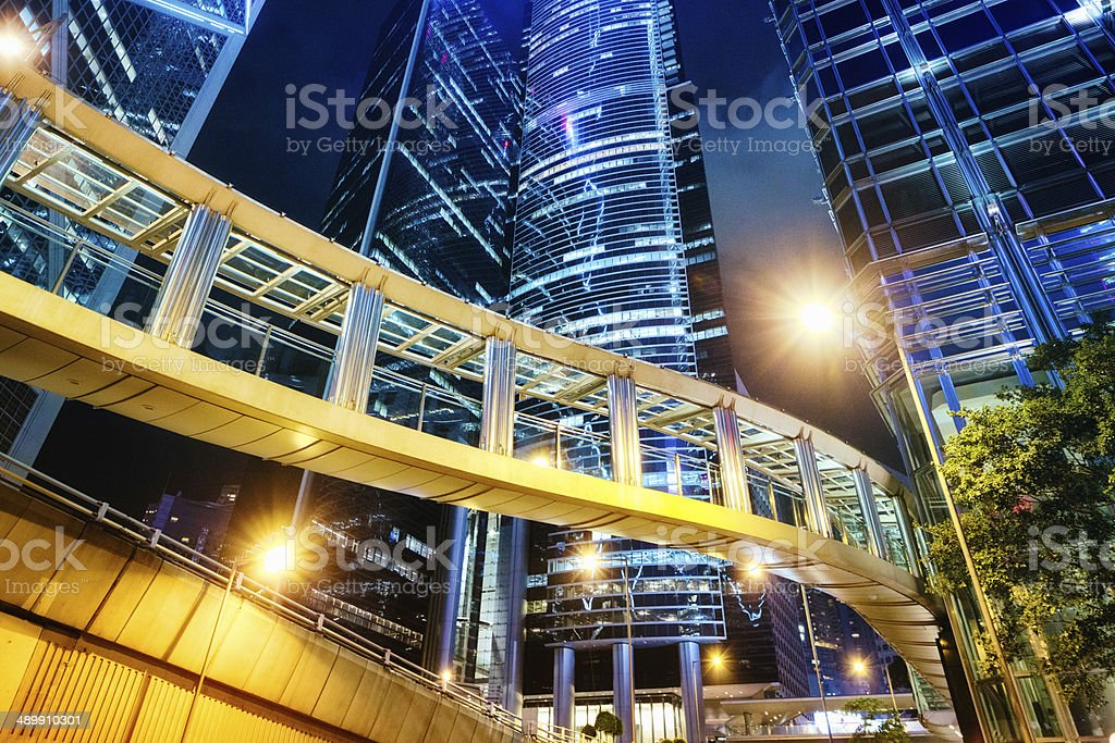 Contemporary finance buildings at night stock photo