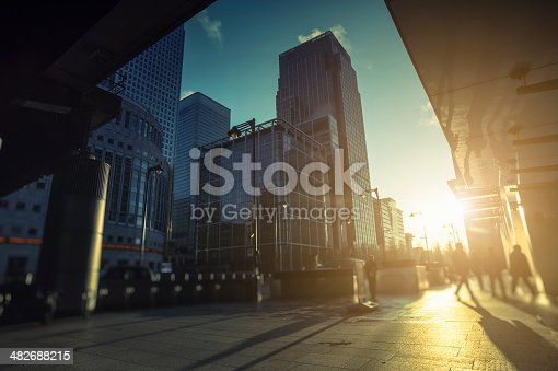 istock Contemporary financial district in Canary Wharf during sunrise, London 482688215
