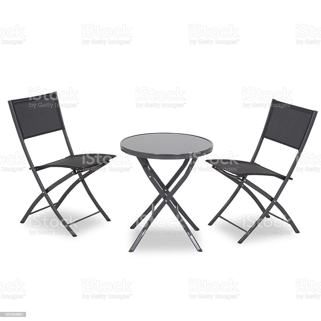 Contemporary Folding Table And Chairs Isolated On White Background royalty-free stock photo