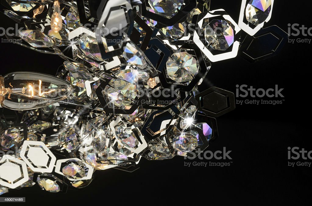 Contemporary glass chandelier fragment royalty-free stock photo